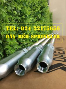 Dây mềm DN25 Inox nối sprinkler DN15, dài 1000mm, 12kg / 12kg/cm2 UL LPCB.